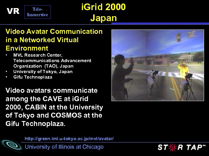 VR Tele. Immersive i. Grid 2000 Japan Video Avatar Communication in a Networked Virtual