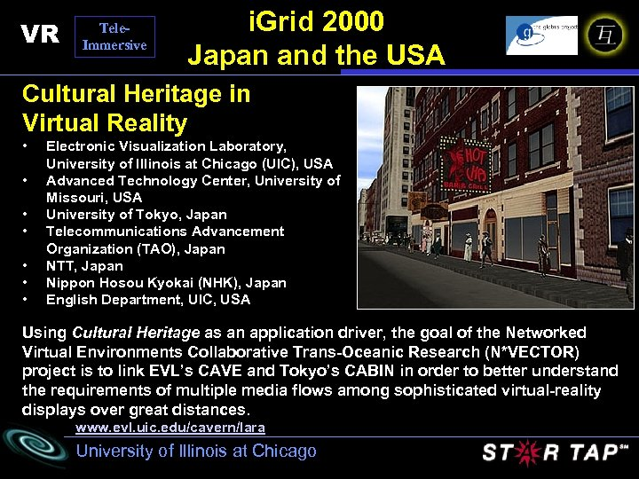 VR Tele. Immersive i. Grid 2000 Japan and the USA Cultural Heritage in Virtual