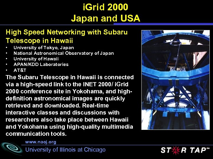 i. Grid 2000 Japan and USA High Speed Networking with Subaru Telescope in Hawaii