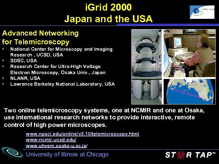 i. Grid 2000 Japan and the USA Advanced Networking for Telemicroscopy • • •