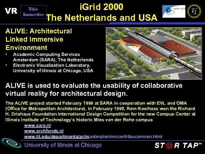 VR Tele. Immersive i. Grid 2000 The Netherlands and USA ALIVE: Architectural Linked Immersive
