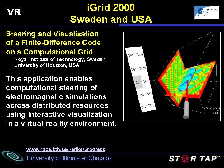 VR i. Grid 2000 Sweden and USA Steering and Visualization of a Finite-Difference Code