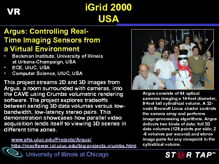 VR i. Grid 2000 USA Argus: Controlling Real. Time Imaging Sensors from a Virtual