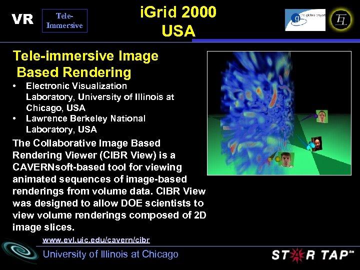 VR Tele. Immersive i. Grid 2000 USA Tele-immersive Image Based Rendering • • Electronic