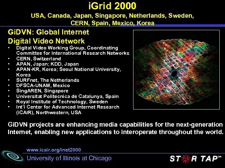 i. Grid 2000 USA, Canada, Japan, Singapore, Netherlands, Sweden, CERN, Spain, Mexico, Korea Gi.