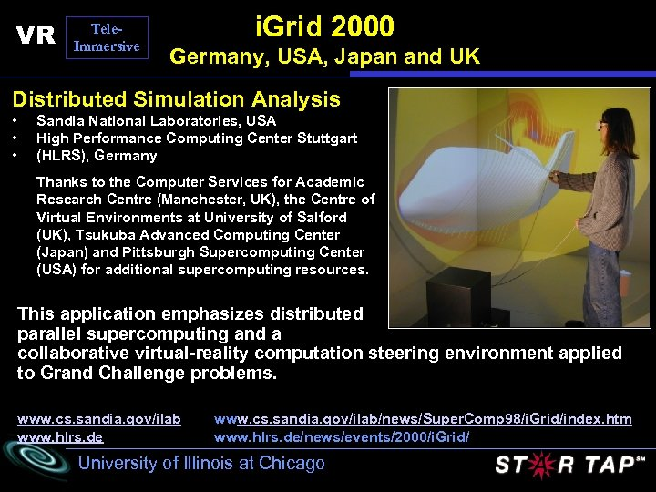 VR Tele. Immersive i. Grid 2000 Germany, USA, Japan and UK Distributed Simulation Analysis