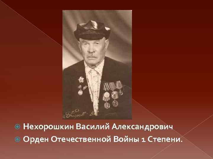 Нехорошкин Василий Александрович Орден Отечественной Войны 1 Степени.