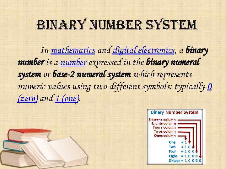 binary number system In mathematics and digital electronics, a binary number is a number