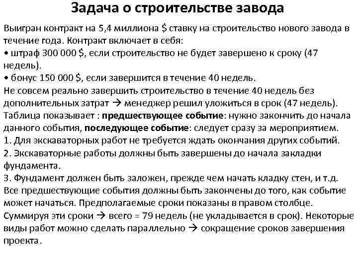 Задача о строительстве завода Выигран контракт на 5, 4 миллиона $ ставку на строительство