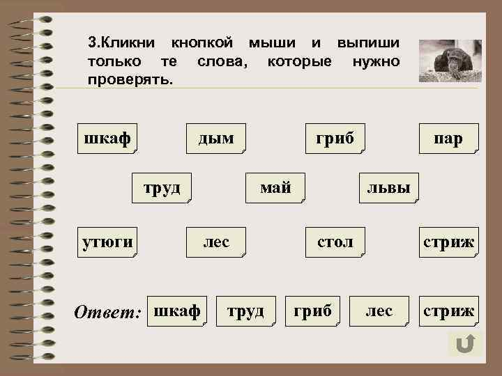 3. Кликни кнопкой мыши и выпиши только те слова, которые нужно проверять. шкаф дым