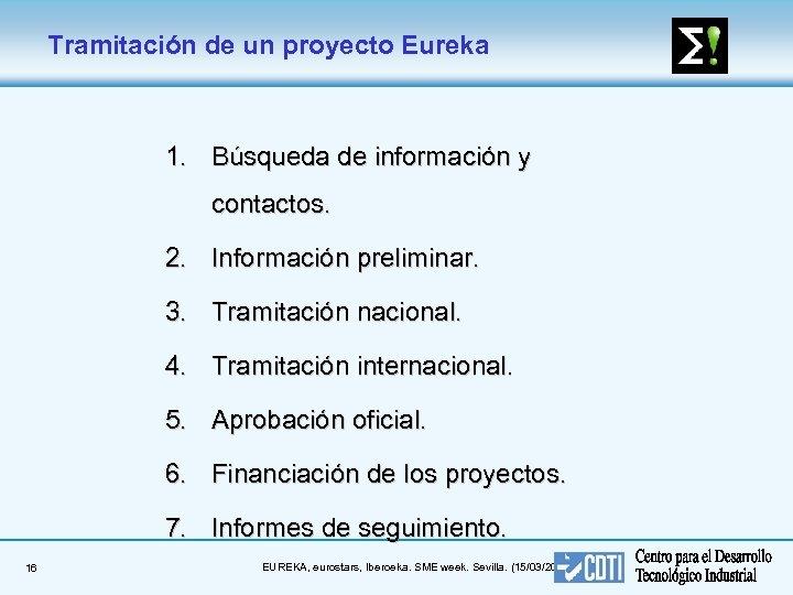 Tramitación de un proyecto Eureka 1. Búsqueda de información y contactos. 2. Información preliminar.