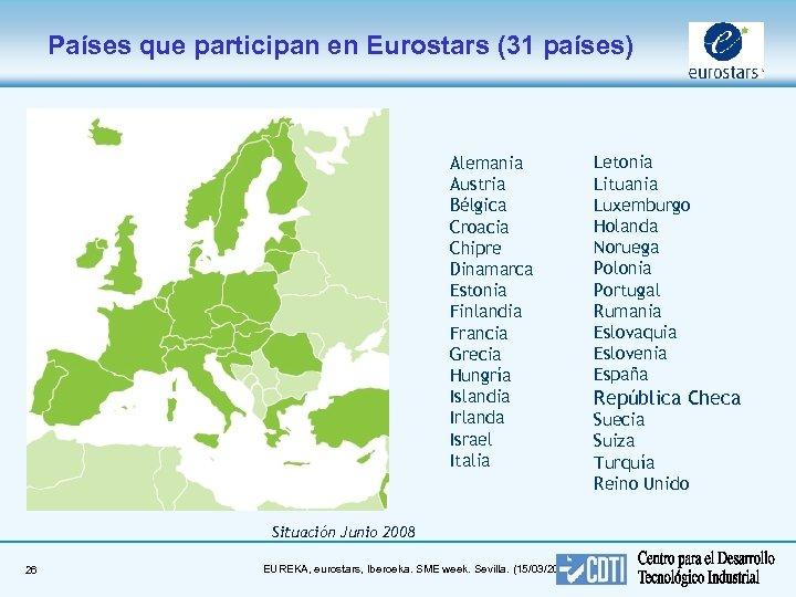Países que participan en Eurostars (31 países) Alemania Austria Bélgica Croacia Chipre Dinamarca Estonia