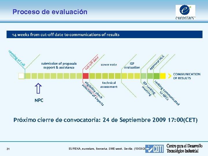 Proceso de evaluación NPC Próximo cierre de convocatoria: 24 de Septiembre 2009 17: 00(CET)