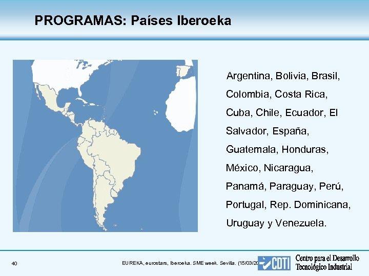PROGRAMAS: Países Iberoeka Argentina, Bolivia, Brasil, Colombia, Costa Rica, Cuba, Chile, Ecuador, El Salvador,