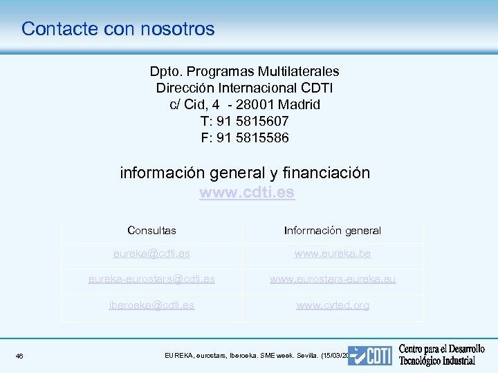 Contacte con nosotros Dpto. Programas Multilaterales Dirección Internacional CDTI c/ Cid, 4 - 28001