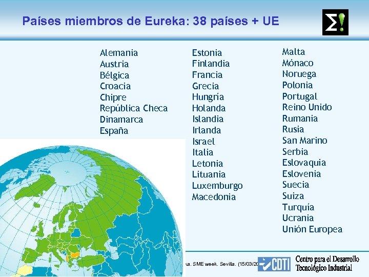 Países miembros de Eureka: 38 países + UE Alemania Austria Bélgica Croacia Chipre República