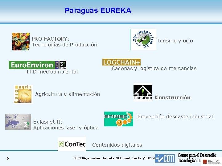 Paraguas EUREKA PRO-FACTORY: Tecnologías de Producción Turismo y ocio Cadenas y logística de mercancías