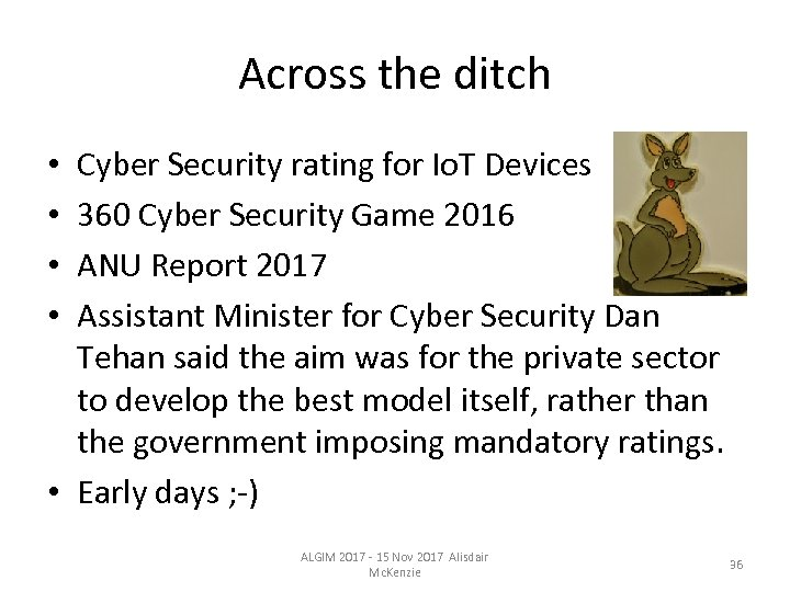 Across the ditch Cyber Security rating for Io. T Devices 360 Cyber Security Game