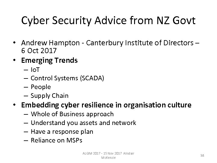 Cyber Security Advice from NZ Govt • Andrew Hampton - Canterbury Institute of Directors