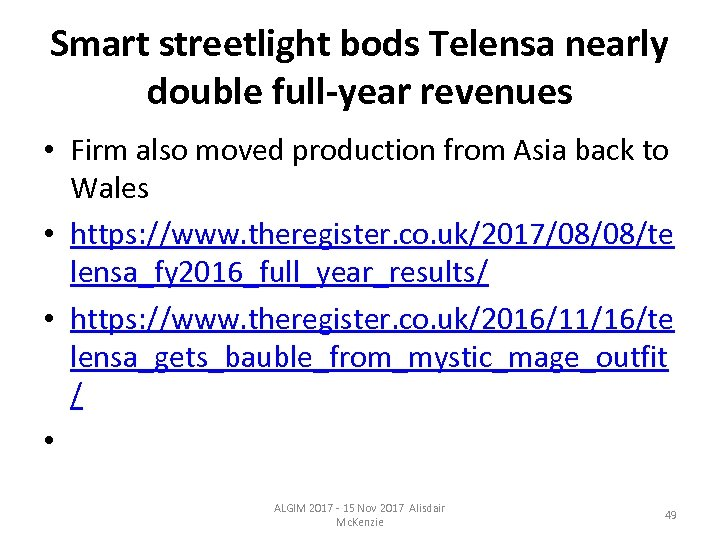Smart streetlight bods Telensa nearly double full-year revenues • Firm also moved production from
