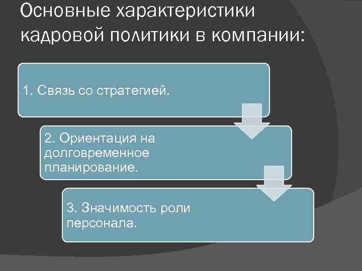 Основные характеристики кадровой политики в компании: 1. Связь со стратегией. 2. Ориентация на долговременное
