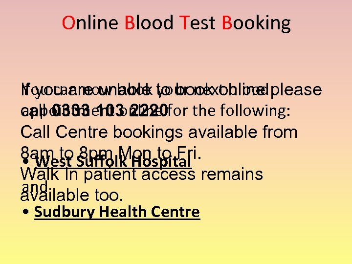 Online Blood Test Booking You can now book your next blood If you are