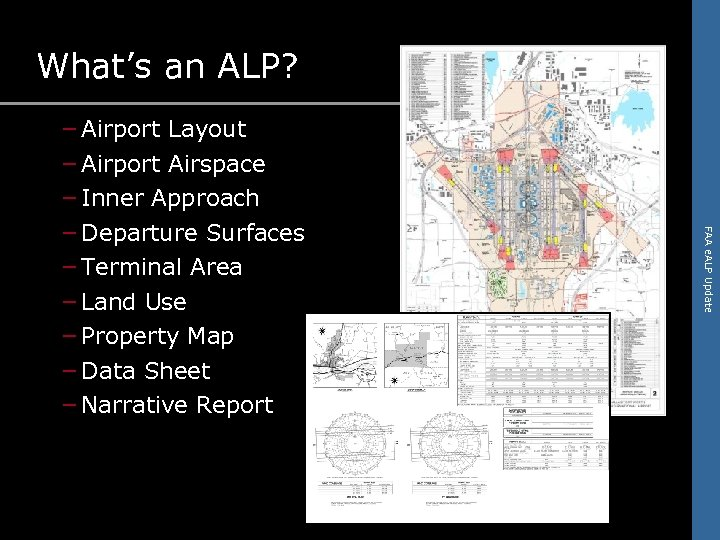 What's an ALP? FAA e. ALP Update – Airport Layout – Airport Airspace –
