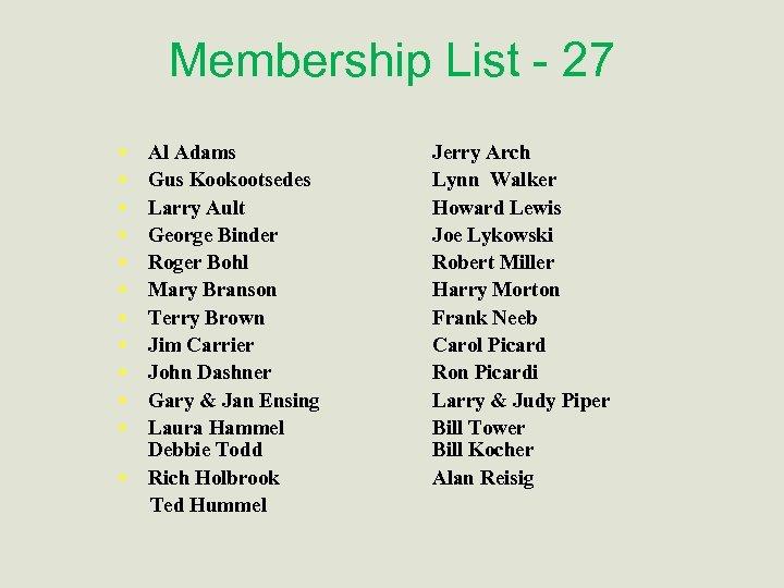 Membership List - 27 • • • Al Adams Gus Kookootsedes Larry Ault George