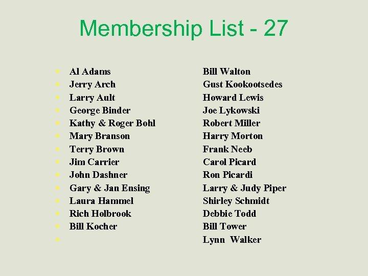 Membership List - 27 • • • • Al Adams Jerry Arch Larry Ault