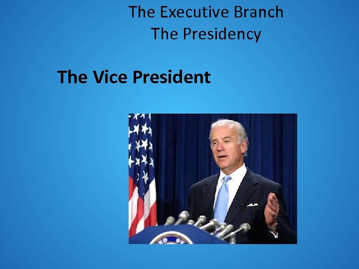 The Executive Branch The Presidency The Vice President