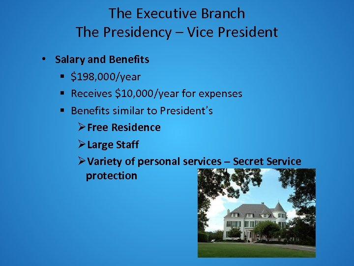 The Executive Branch The Presidency – Vice President • Salary and Benefits § $198,