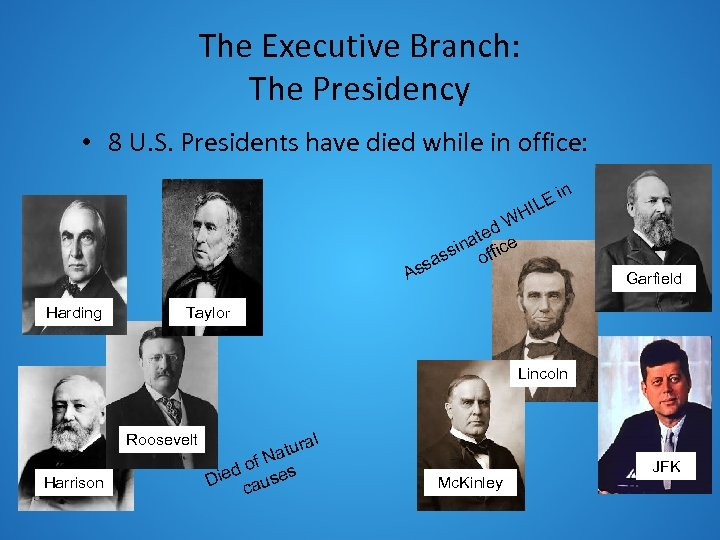 The Executive Branch: The Presidency • 8 U. S. Presidents have died while in
