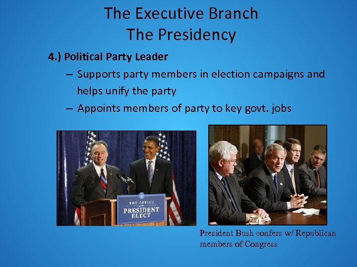 The Executive Branch The Presidency 4. ) Political Party Leader – Supports party members