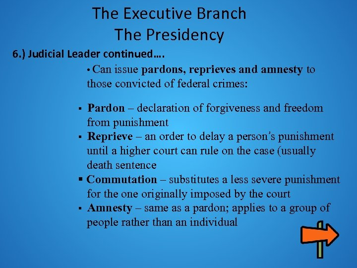 The Executive Branch The Presidency 6. ) Judicial Leader continued…. • Can issue pardons,