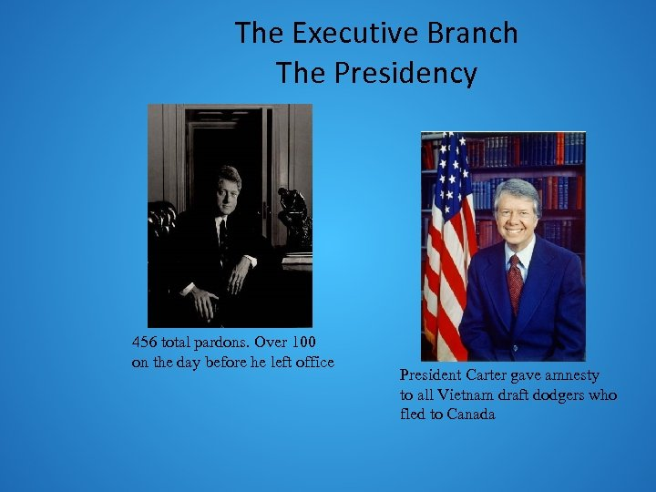 The Executive Branch The Presidency 456 total pardons. Over 100 on the day before