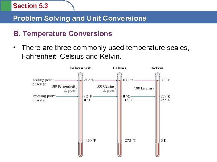 Section 5. 3 Problem Solving and Unit Conversions B. Temperature Conversions • There are