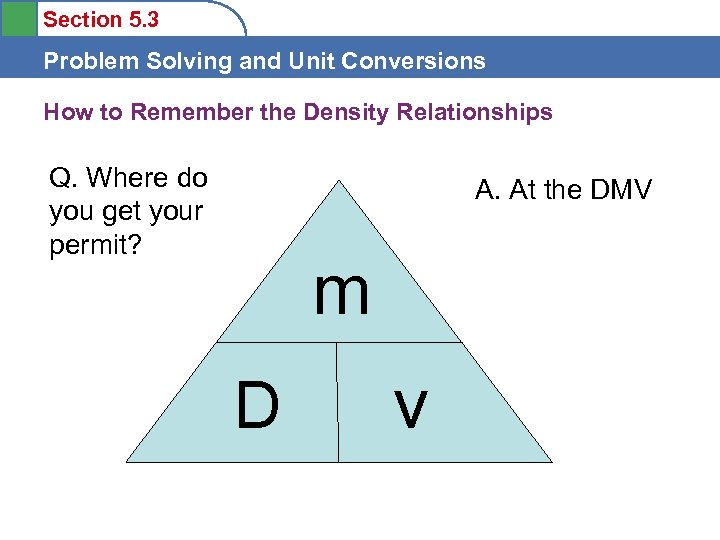 Section 5. 3 Problem Solving and Unit Conversions How to Remember the Density Relationships