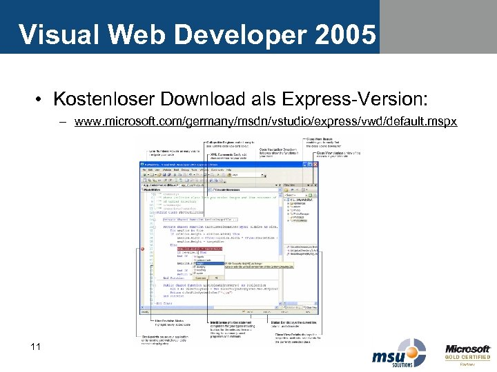 Visual Web Developer 2005 • Kostenloser Download als Express-Version: – www. microsoft. com/germany/msdn/vstudio/express/vwd/default. mspx