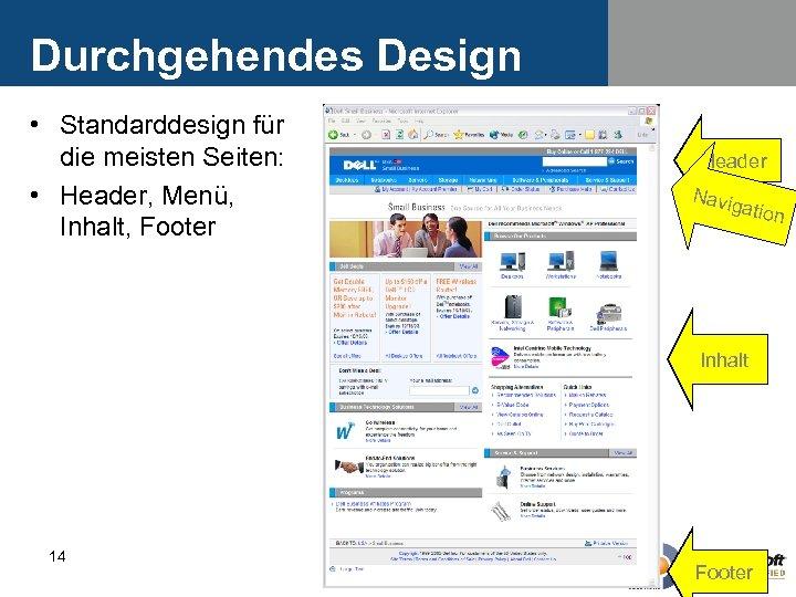 Durchgehendes Design • Standarddesign für die meisten Seiten: • Header, Menü, Inhalt, Footer Header