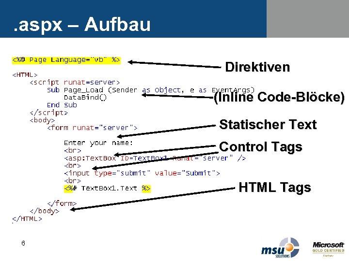 . aspx – Aufbau Direktiven (Inline Code-Blöcke) Statischer Text Control Tags HTML Tags 6