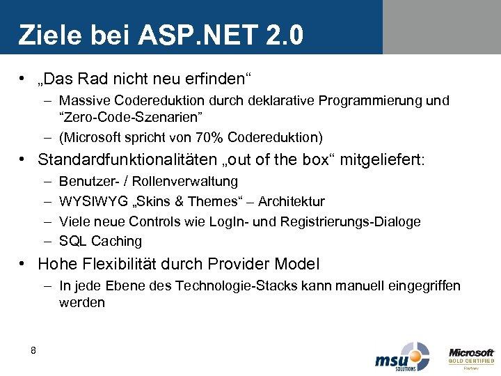 """Ziele bei ASP. NET 2. 0 • """"Das Rad nicht neu erfinden"""" – Massive"""