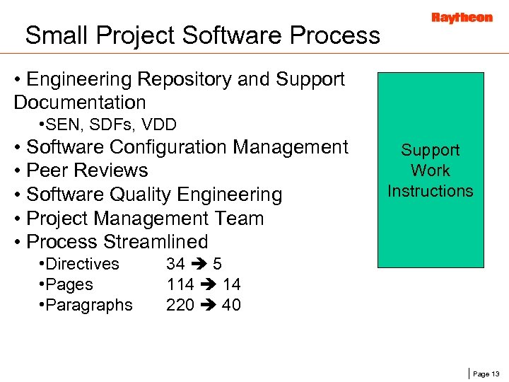 Small Project Software Process • Engineering Repository and Support Documentation • SEN, SDFs, VDD