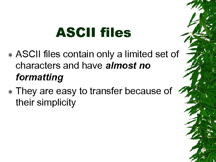 ASCII files contain only a limited set of characters and have almost no formatting