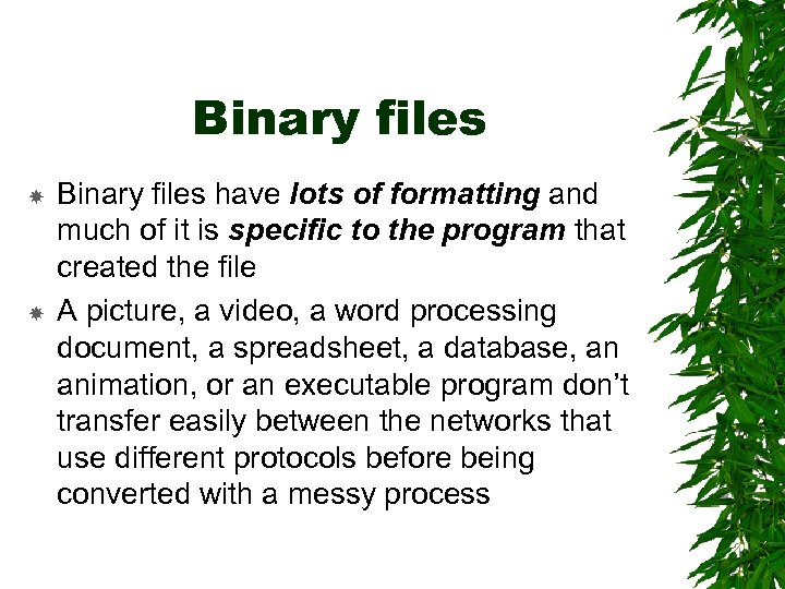 Binary files have lots of formatting and much of it is specific to the