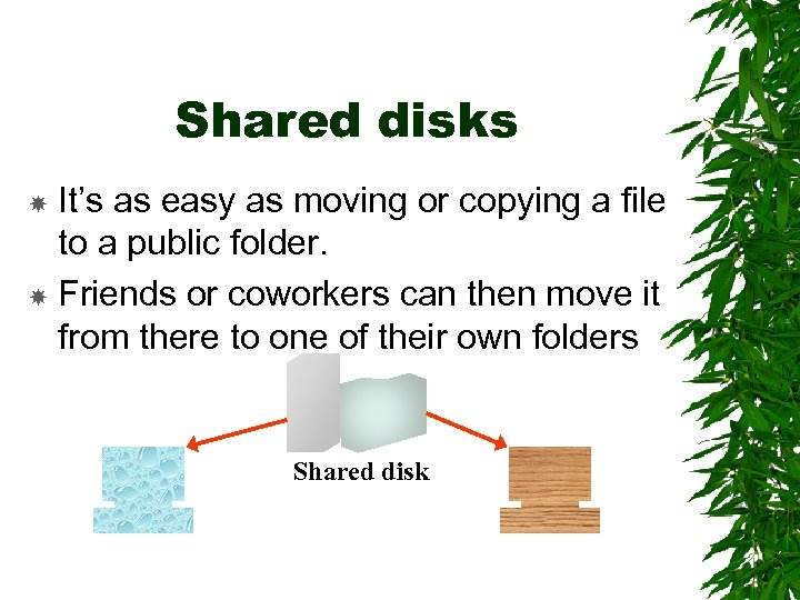 Shared disks It's as easy as moving or copying a file to a public