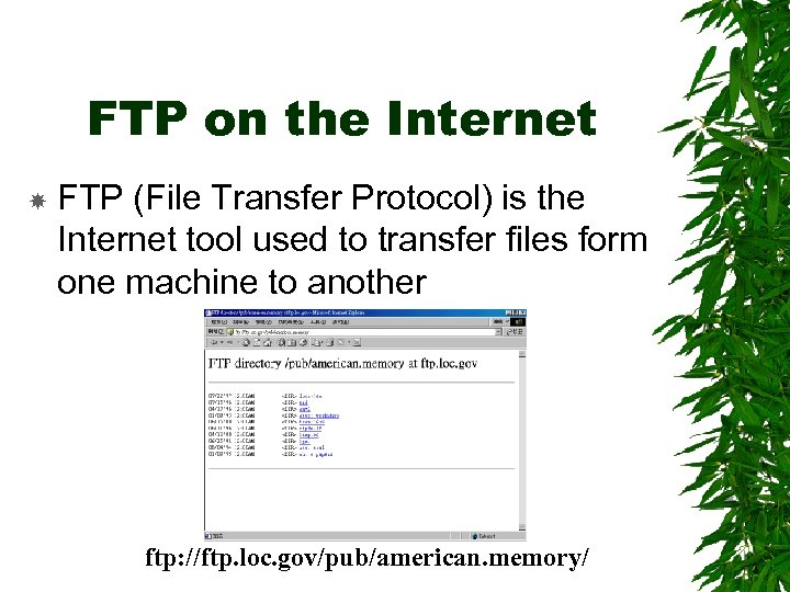 FTP on the Internet FTP (File Transfer Protocol) is the Internet tool used to