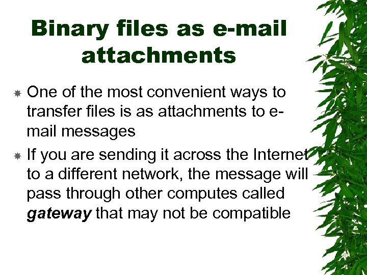 Binary files as e-mail attachments One of the most convenient ways to transfer files
