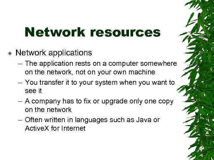 Network resources Network applications – The application rests on a computer somewhere on the
