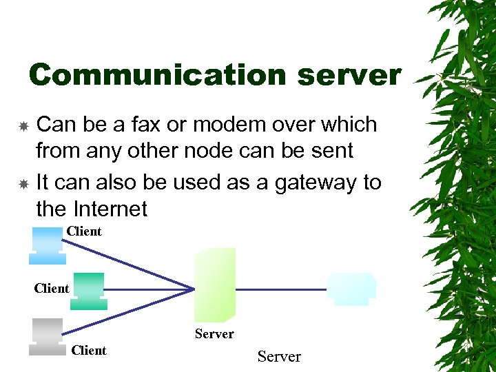 Communication server Can be a fax or modem over which from any other node
