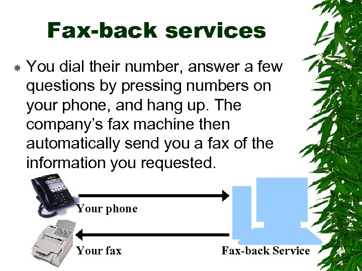 Fax-back services You dial their number, answer a few questions by pressing numbers on